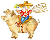 Cartoon boy with a lasso and rattle riding pig — Stock Photo