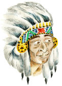 Red Indian surprised chief — Stock Photo