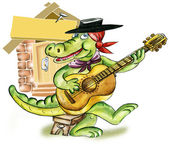 Cartoon alligator playing guitar — Stock Photo
