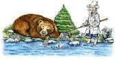 Brown bear eating fish — Stock Photo