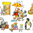 Collection of funny bird`s characters — Stock Photo
