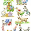 Goats Cartoon Funny Characters — Stock Photo