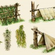 Stock Photo: Survival shelters