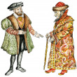 Kings of Russia and France in16th century costumes — 图库照片