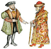 Kings of Russia and France in16th century costumes — Stock Photo