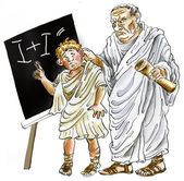 Ancient Roman Teacher punishing negligent schoolboy — Stock Photo