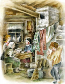 Family in peasant interior with stove. — Stock Photo