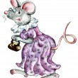 Cartoon old-fashioned mouse — Stock Photo