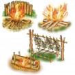 Stock Photo: Touristic campfires set