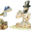 Snake charmer comic illustration — Stock Photo