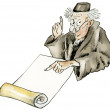 Stock Photo: Funny cartoon scientist in vintage clothes with copy manuscript