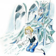 Stock Photo: Snow Queen and little boy in ice castle