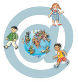 Multiracial happy kids around the globe against mail icon — Stock Photo