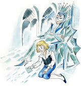 Snow Queen and little boy in ice castle — Stock Photo