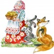 Stock Photo: Cheerful grandmother with plate of pastries, entertaining to hare and fox