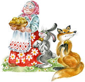 Cheerful grandmother with plate of pastries, entertaining to hare and fox — Stock Photo