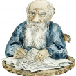Stock Photo: Caricature portrait of Leo Tolstoy