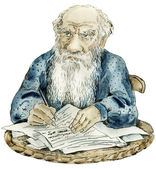 Caricature portrait of Leo Tolstoy — Stock Photo