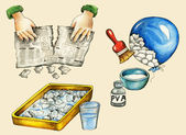 Papier-mache making illustrated instruction manual — Stock Photo