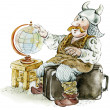 Viking-tourist , cartoon illustration - Foto Stock
