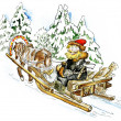 Happy man in a horse sleigh carrying firewood — Stock Photo #21979405