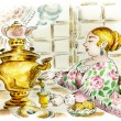 Stock Photo: Pretty womat tetable with samovar