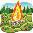 Stock Vector: Camp Fire in forest cartoon illustration
