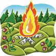 Camp Fire in forest cartoon illustration — Stock Vector