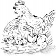 Royalty-Free Stock Vector Image: Hen on nest with hatching chicken and baby crocodile