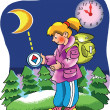 Stock Vector: Girl Explorer looking at compass
