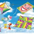 Various flying kites on blue sky — Stock Vector