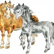 Royalty-Free Stock Vector Image: Funny horses couple