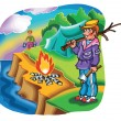 Stock Vector: Boy camping on river bank
