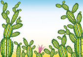 Green cartoon cactus scene with copy space — Stock Photo