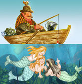 Fisherman and mermaids — Stock Photo