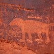 Petroglyph Panel Along Potash Road - Stock Photo