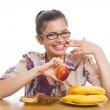 Cheerful woman on diet — Stock Photo