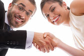 Happy handshake and teamwork — Stock Photo