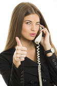 Successful businesswoman gesturing okay — Stock Photo