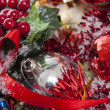 Red Christmas decoration details — Stock Photo
