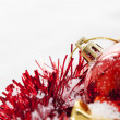 Stock Photo: Christmas border with red bauble