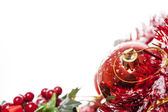 Christmas border with red bauble — Foto de Stock