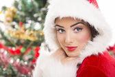 Charming Santa girl — Stock Photo