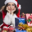 Sad Santa girl — Stock Photo