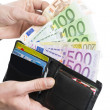 european curency in wallet — Stock Photo