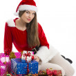 Christmas girl and presents — Photo