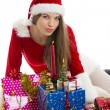 Stock Photo: Christmas girl, presents and candle