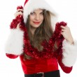 Christmas woman and red tinsel — Stock Photo