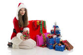 Christmas girl holding present — Stockfoto