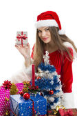 Christmas girl and presents — Foto Stock